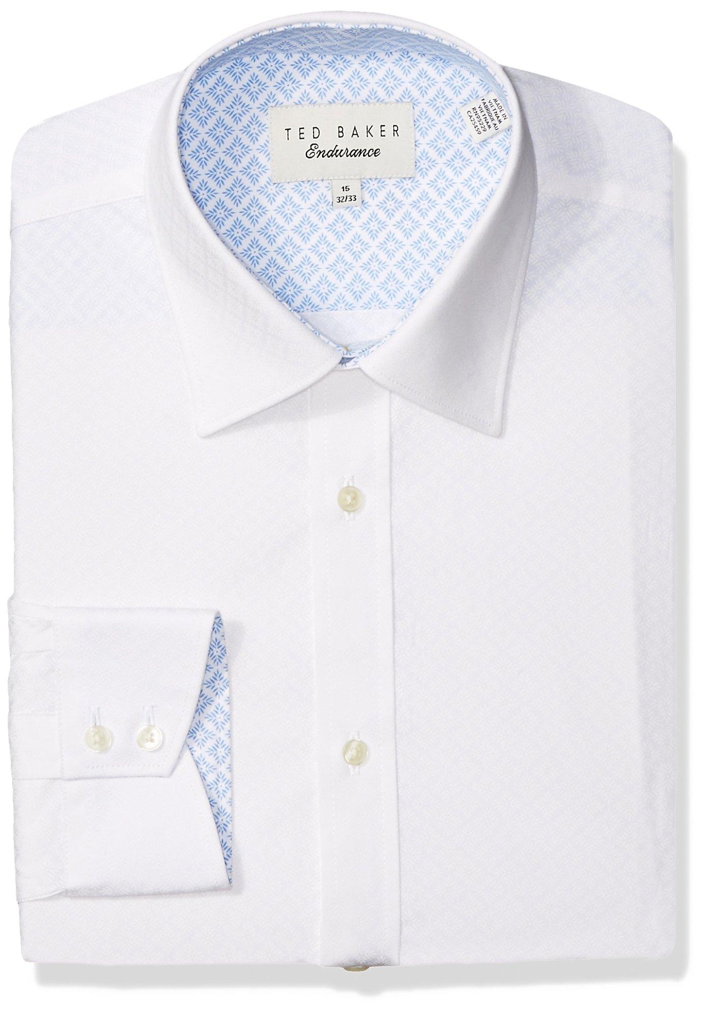 Ted Baker Men's Snaper Slim Fit Dress Shirt, White, 14.5'' Neck 32-33'' Sleeve