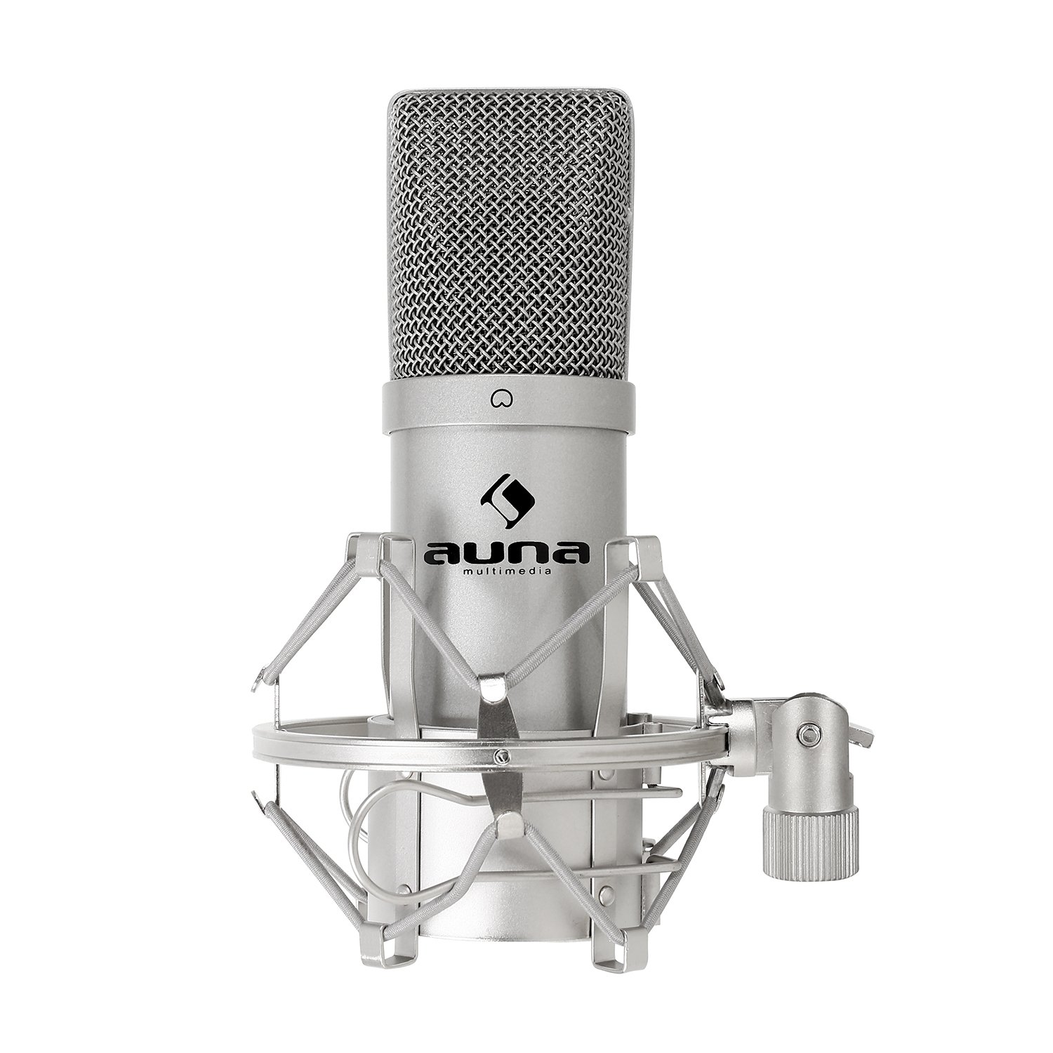 auna MIC-900S USB Cardioid Condenser Microphone • Studio Recording • Spider Shockmount • Plug & Play • 320Hz - 18KHz • Built-In 16mm Capsule • Silver