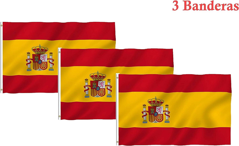 Hollylife Bandera de España de 3 Piezas, 150 x 90 cm, Anti-UV y ...