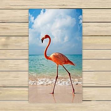 Toallas de baño, toalla de baño cuerpo ducha, personalizado Flamingo en la orilla del mar playa/toalla de ducha (Wrap para uso en casa y de viaje: ...
