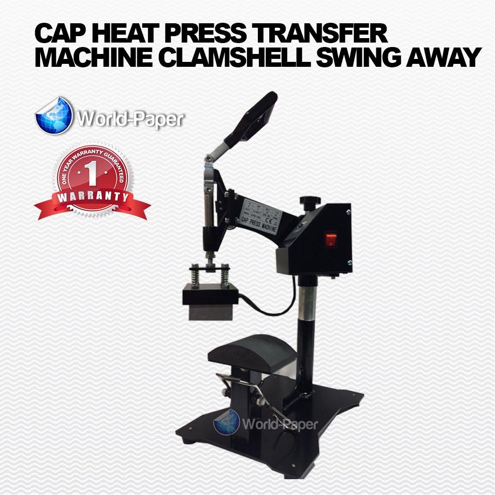 Heat Press Machine Cap Press Sublimation, HTV, Transfer Paper, W Flat Attachment
