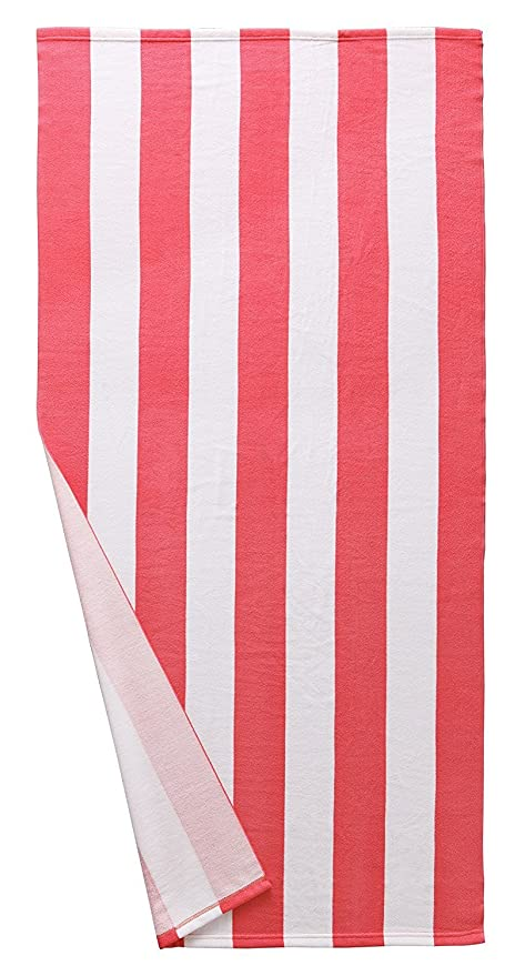 """Microfibra Cabana diseño de rayas toalla de playa rosa y blanco (30 """"X"""
