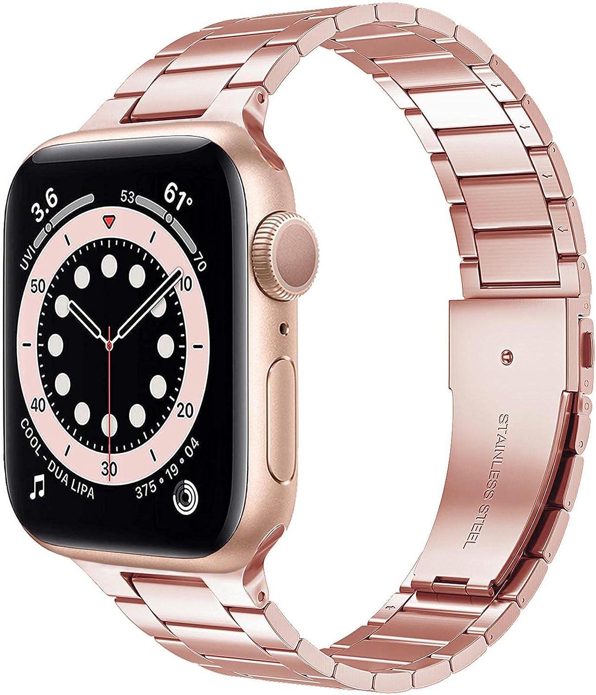 Miimall Correa de Reloj Compatible con Apple Watch Serie 6/SE/5/4/3/2/1 40mm 38mm, Metal de Acero Inoxidable Correa de Repuesto Ajustable Pulsera de Repuesto para Apple Watch 40mm 38mm - Champagne
