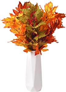 6 Pcs Mixed Corlor Artificial Maple Leaves Branches Fake Fall Bushes Maple Leaf Stems Shrubs Autumn Home Decor Outdoor Party Halloween Thanksgiving Christmas Table Centerpieces