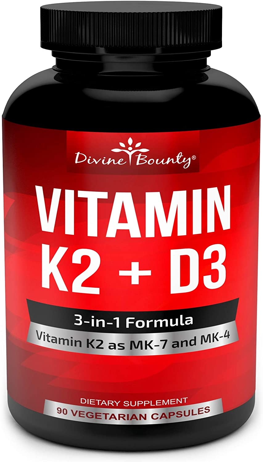 Amazon Com Vitamin K2 Mk7 Mk4 With D3 Supplement Vitamin K D As Mk 7 100mcg Mk 4 500mcg And 5000 Iu Vitamin D3 3 In 1 Formula Bone And Heart Support 90