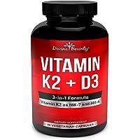 Vitamin K2 (MK7 & MK4) with D3 Supplement - Vitamin K & D as MK-7 100mcg, MK-4 500mcg, and 5000 IU Vitamin D3-3-in-1…