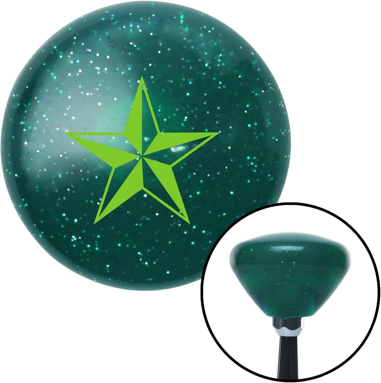 American Shifter 207608 Green Retro Metal Flake Shift Knob with M16 x 1.5 Insert Green Tattoo Star Thin