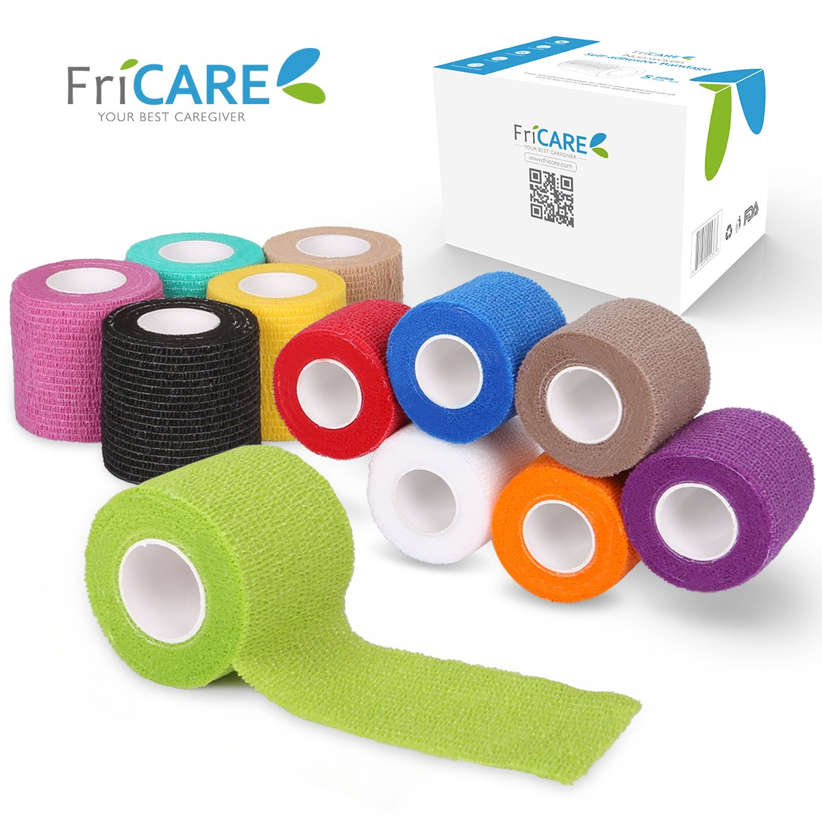 FriCARE 2'' Wide x 5 Yards Self-Adhesive Bandage, Self Adherent Cohesive First Aid Medical Wrap, Elastic Vet Tape for Kid Dog Pet (Rainbow, 12 Pack)
