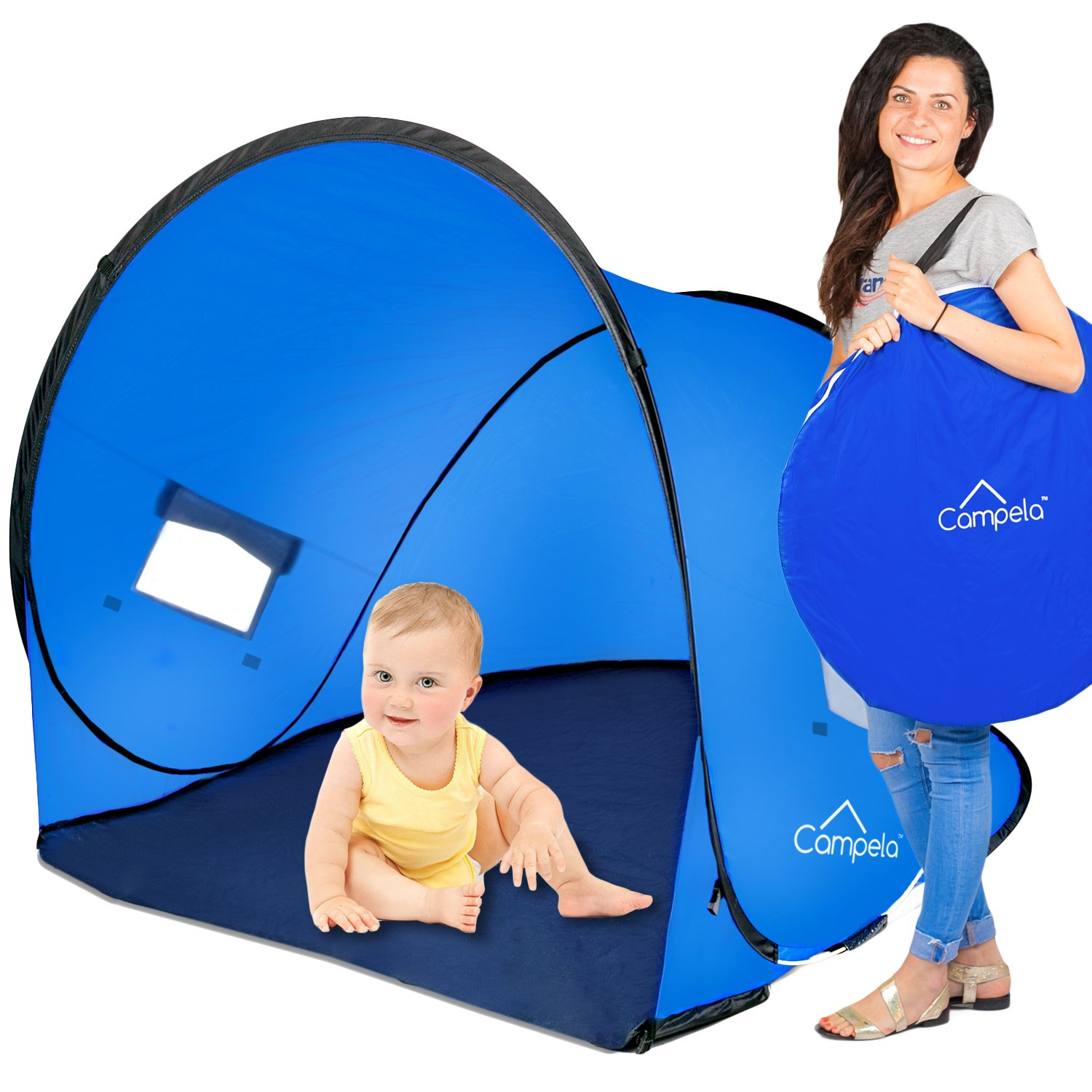 Campela Baby Beach Tent UV - Infant Shelter Camping Cabana Pop up Shade Gear Sun Babies Shelter Portable Great Toddler Shelters for Beach!
