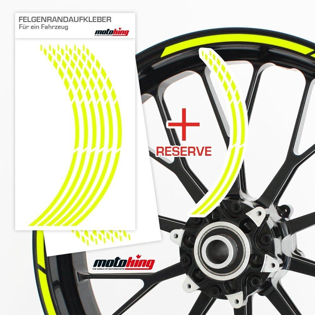Farbe /& Breite w/ählbar Komplettset f/ür 16 bis 19 Motoking Felgenbettaufkleber im GP Design