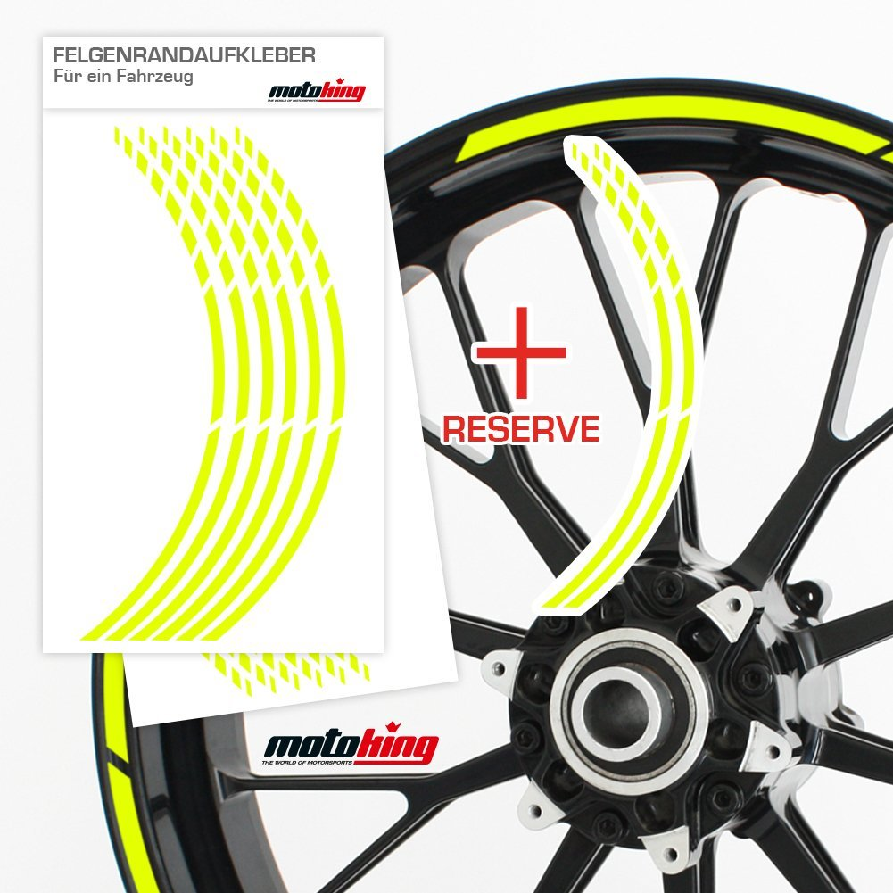 Vorgekr/ümmt f/ür 20 bis 24 Farbe: Chrom Silber Auto /& mehr F/ür Motorrad Felgenaufkleber Felgenrandaufkleber im GP Design