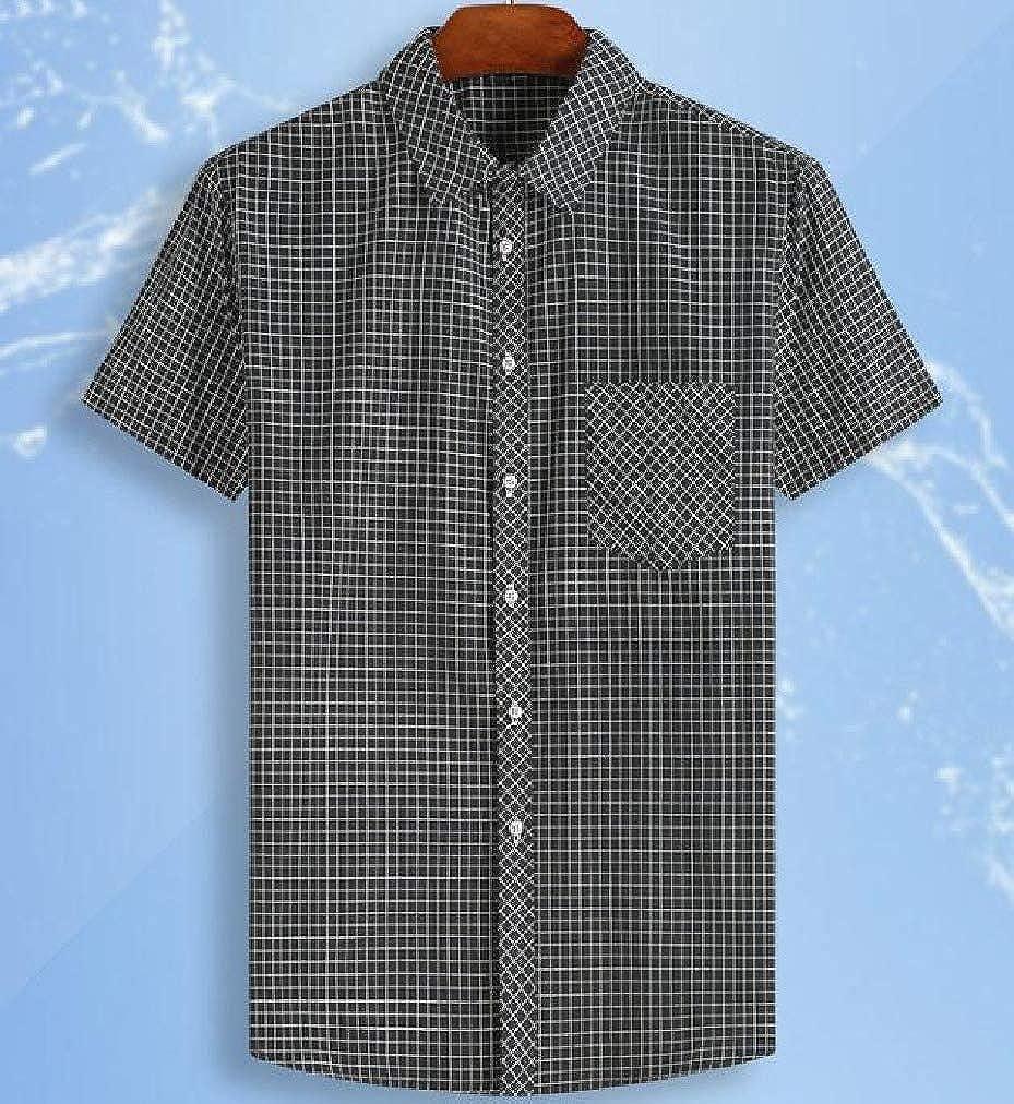 AngelSpace Men Plus-Size Lapel Collar 1//2 Sleeve Silm Fit Plaid Longshirt