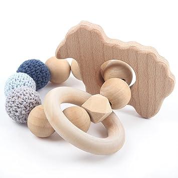Natural Beech Wood Ring Organic Stroller Toy Baby Teething Rattle Gifts BPA Free