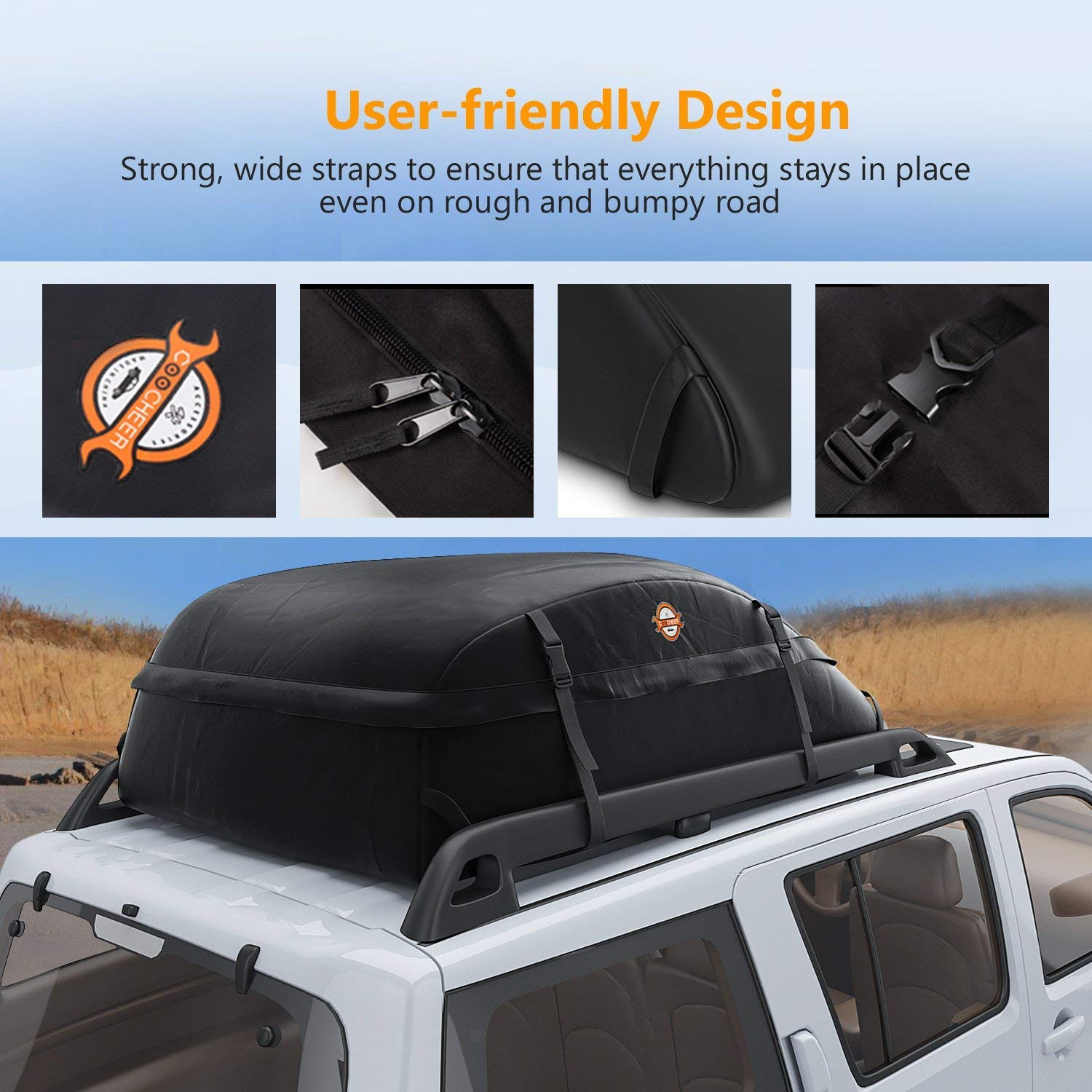 20 Cubic - Upgrade SUV Waterproof Roof Top Cargo Bag,Thickened Car Roof Carrier Universal Soft Rooftop Bag Luggage Cargo Carriers for Car,Vans