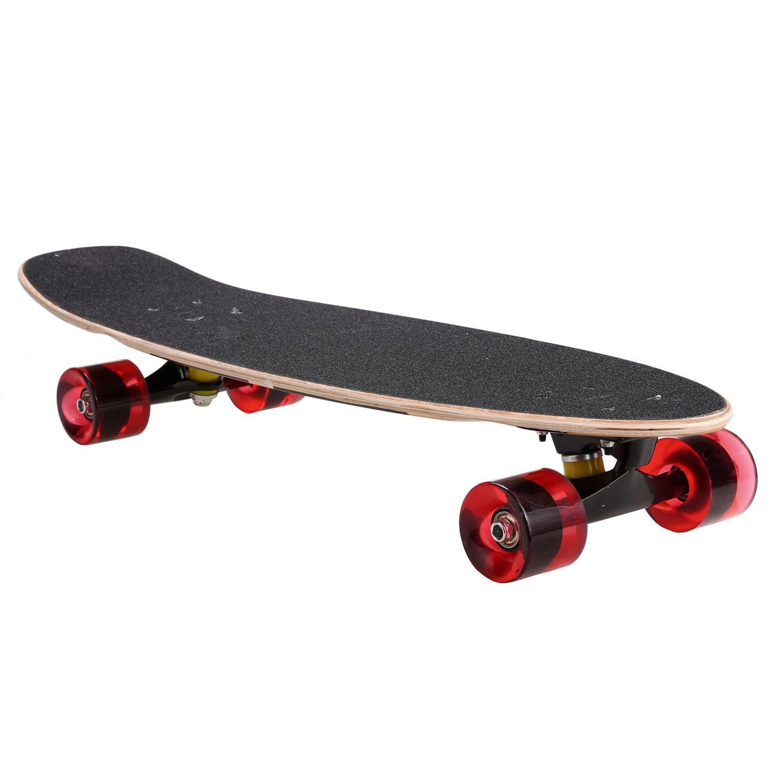 Evokem 27inch Cruiser Skateboard, Wooden Deck Style Complete Longboard, Outdoor Fun Stitching Color Skate Board with Smooth PU Wheels for Adults, Teens, Kids (Black)