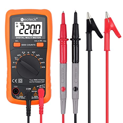Neoteck 6000 Counts TRMS Auto Ranging Digital Multimeter, Multimeter Tester with NCV AC/DC
