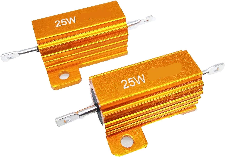 Power Wirewound Resistor 1//2W 2 ohm 5/% Lot of 25
