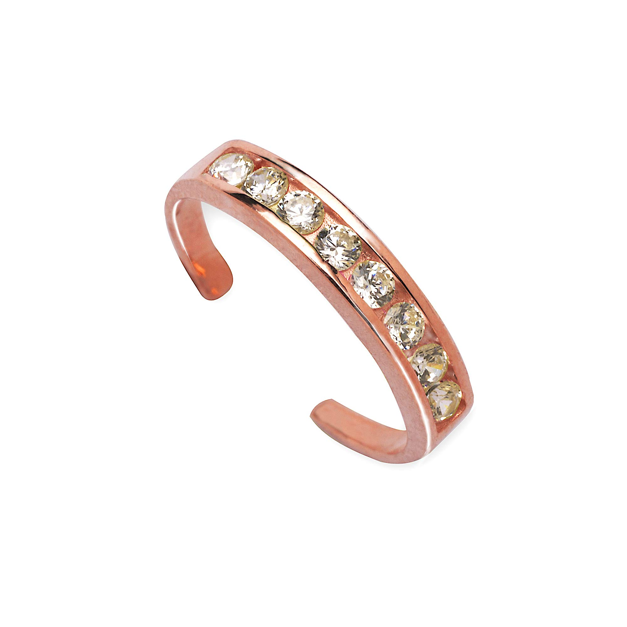 JewelryWeb Solid 14k Rose Gold Channel-Set Round CZ Cubic Zirconia Adjustable Toe Ring (Clear or Pink) (Clear)