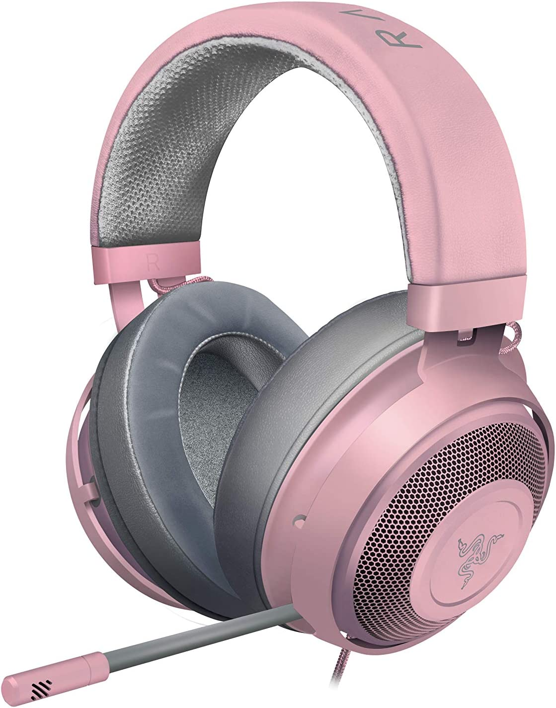 Razer Kraken Gaming Headset 2019: Lightweight Aluminum Frame - Retractable Noise Cancelling Mic - for PC, Xbox, PS4, Nintendo Switch - Quartz Pink