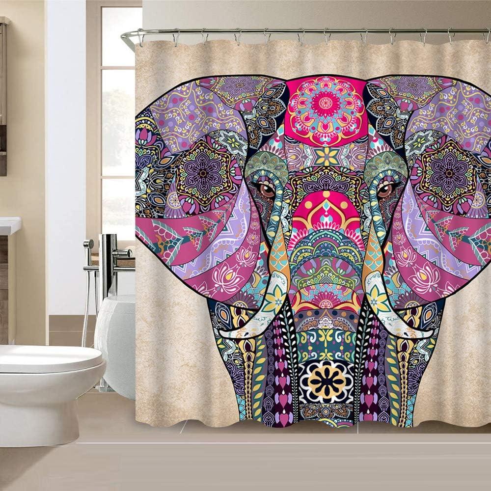 VividHome Elephant Animal Shower Curtain Indian Bohemian Boho Waterproof Polyester Fabric Bathroom Bath Curtains 72x72 Inches