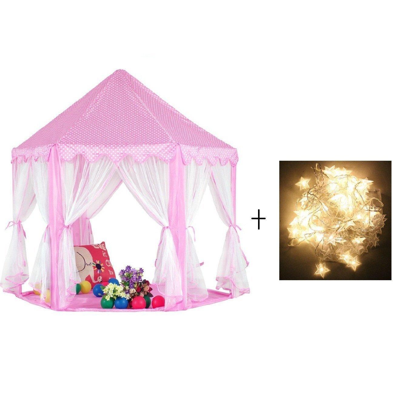 Kinder Spielplatz Prinzessin Schloss Zelte, Shayson im freien tragbare großen Spielhaus, perfekte Indoor Spielzeug Geschenk für Kind Kleinkinder (Mit kleinen Sterne leuchten)