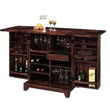 Ringabell Solid Sheesham Wood Wine Bar Cabinet (Mahogany Finish)