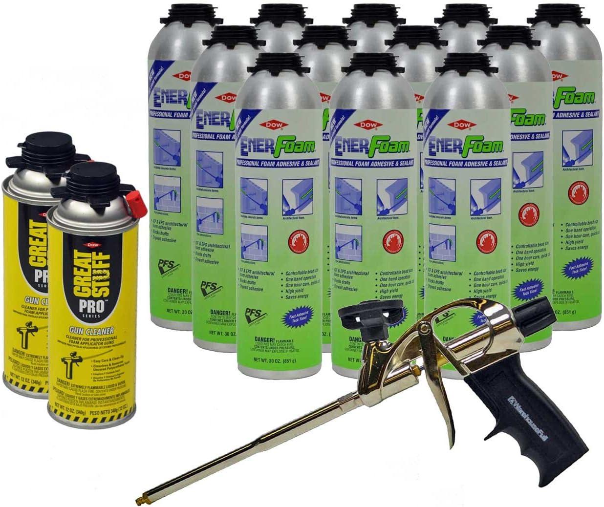 Dow Enerfoam 30oz Gun Dispensed Foam (12) + AWF Pro Foam Gun (1) + Great Stuff Pro Foam Gun Cleaner (2)
