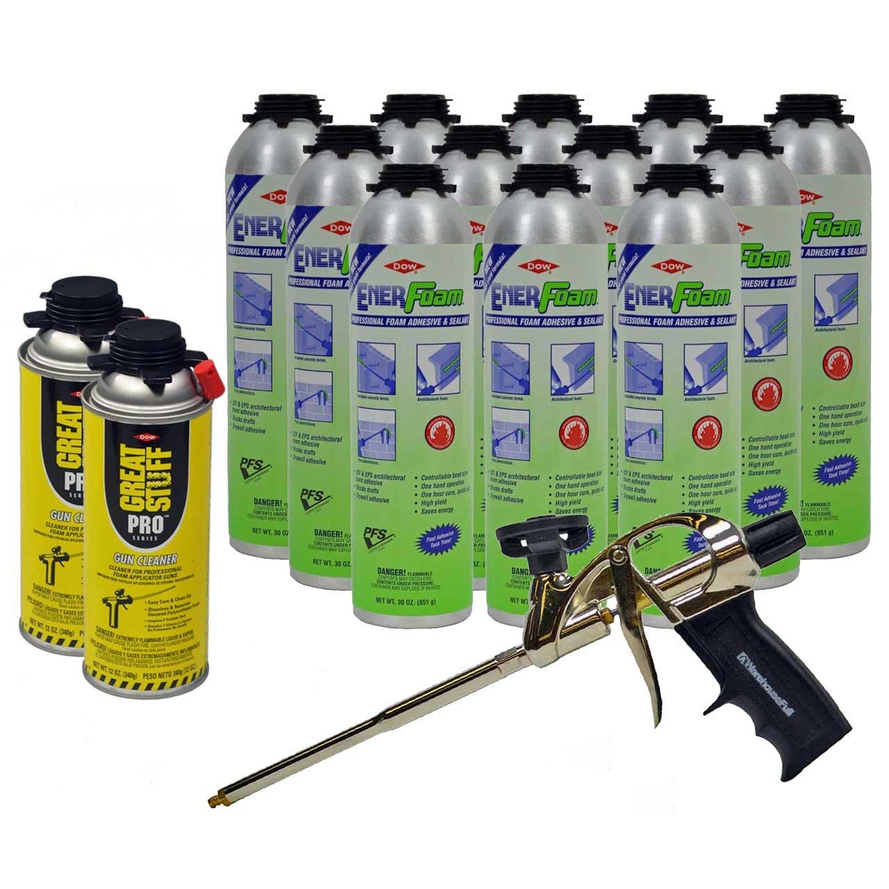 Dow Enerfoam 30oz Gun Dispensed Foam (12) + AWF Pro Foam Gun (1) + Great Stuff Pro foam Gun Cleaner (2) by Great Stuff