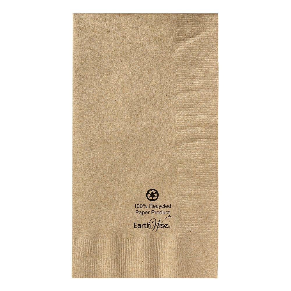 Hoffmaster 180430 Earth Wise Kraft Dinner Napkin, 2 Ply, 1/8 Fold, 17'' Length x 15'' Width, Natural (Packs of 1000)