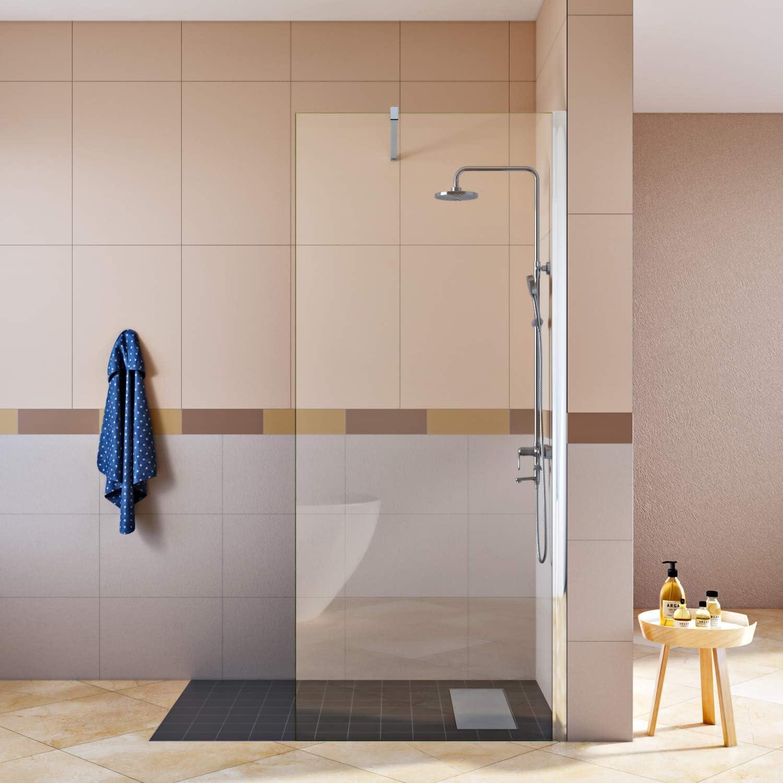 2 barre de fixation SIRHONA Paroi de douche /à l/'italienne 70 x 70 x 190 cm porte douche avec 8mm verre NANO transparent 2 porte Cabine de douche