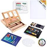 Acrylic Painting Set, Ohuhu 44pcs Artist Set with Wood Table-Top Easel Box, Art Painting Brushes, Acrylic Paint Tubes…