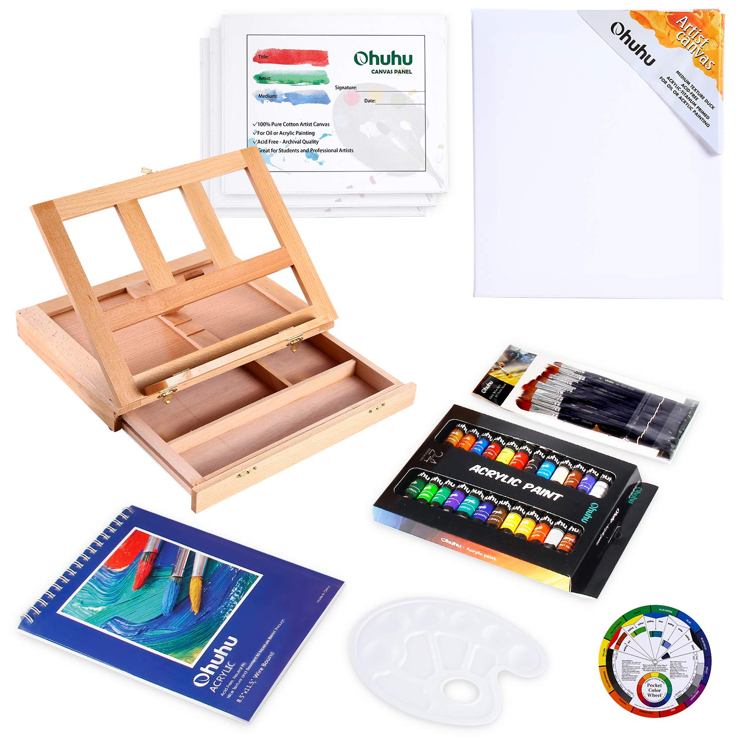 Acrylic Painting Set, 44pcs Ohuhu Artist Set with Wood Table-Top Easel Box, Art Painting Brushes, Acrylic Paint Tubes, and Acrylic Painting Pads for Artist Students Beginners by Ohuhu