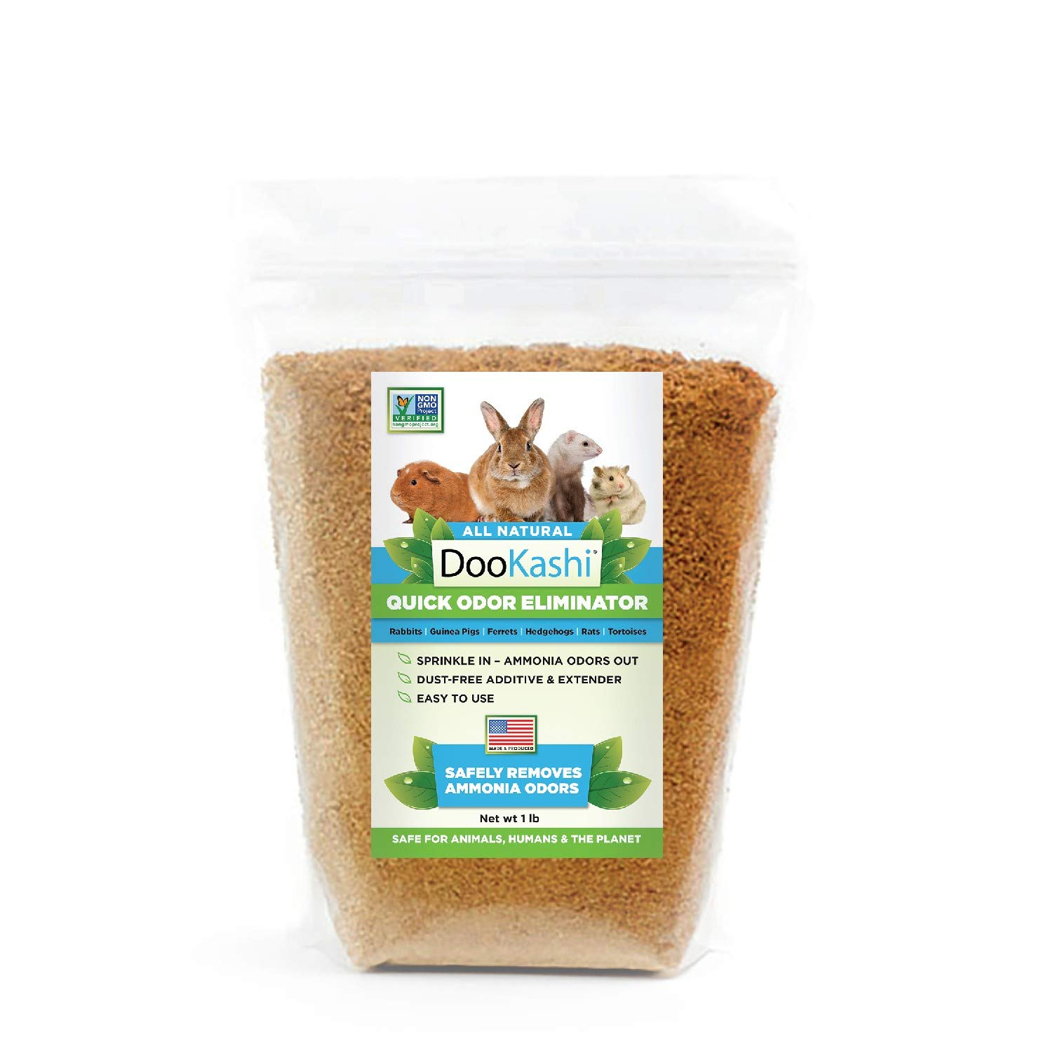 DooKashi Guinea Pig Bedding Odor Eliminator and Guinea Pig Litter Box Deodorizer - Probiotic Powered Natural Litter Additive Extender and Small Pet Odor Remover - Non-GMO, Non-Toxic, Eco-Friendly, 1lb by DooKashi