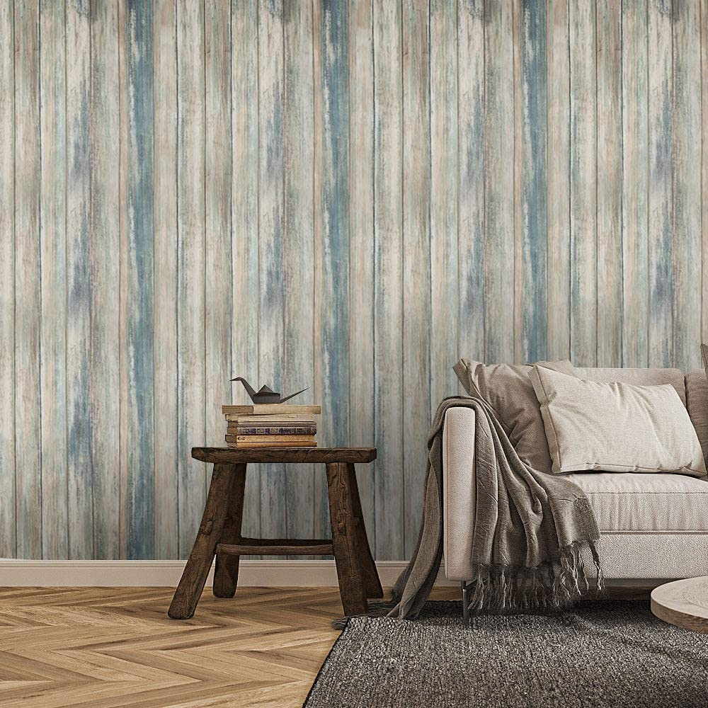 Blue Wood Wallpaper Self Adhesive Wall Covering Removable Decorative Vinyl Film Decorative for Furniture Easy to Clean 11.8