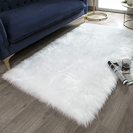 Ashler Soft Faux Rectangle Fur Chair Couch Cover White Area Rug for Bedroom Floor Sofa Living Room Rectangle 3 x 5 Feet