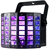 American DJ MIN535 Mini Dekker LZR Portable 2 in 1 Special Effect Lighting with Moonflower 4 Color Quad LED Light and Red/Green Laser Lighting Fixture