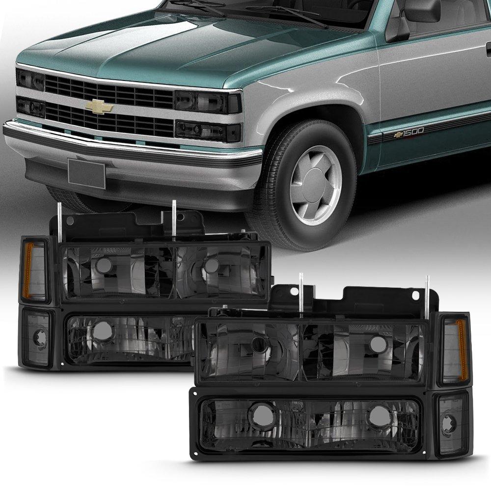 For 1994-98 Chevy C/K 1500/2500/3500 Tahoe Suburban Full Size C10 Headlights LH/RH Smoke Headlamp Pair