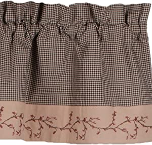 Primitive Home Decors Berry Vine Gingham Valance - Black
