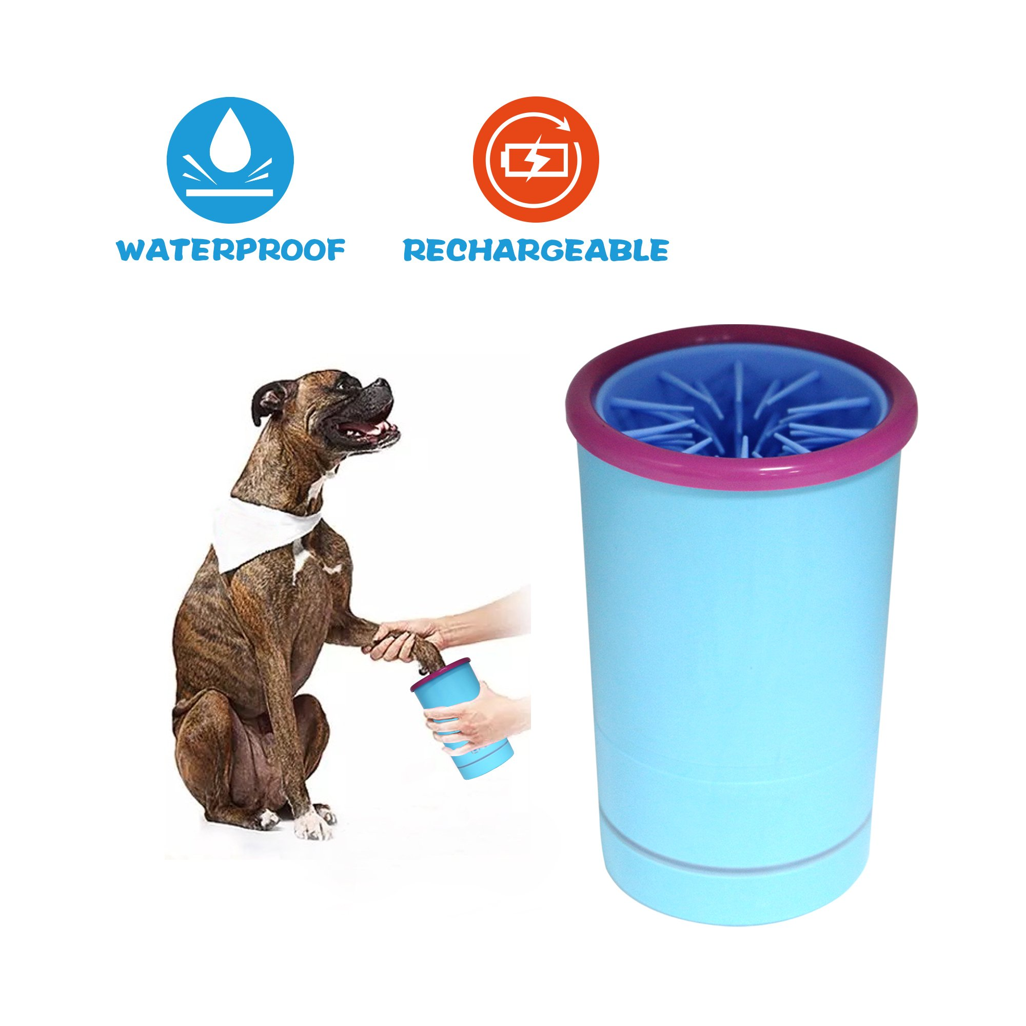[2018 New Version] Automatic Feet Washing Cup, Dog Cat Paw Cleaner Pet Cleaning Brush Cup, Integral Waterproofing, 2000mAh USB AA Rechargeable Battery, Medium & Large Size, Blue (Size - L02)