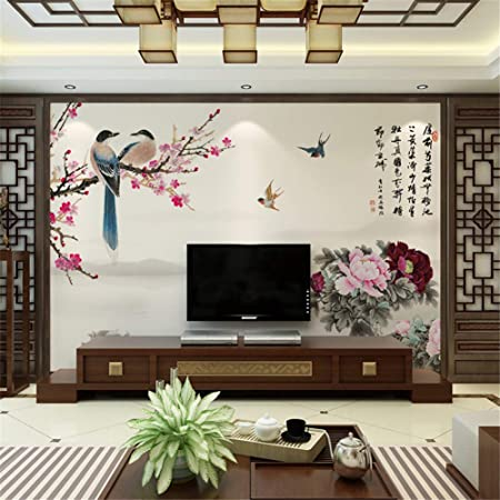 Saknp70 Chinese Flowers Birds Tv Background Wall Decoration