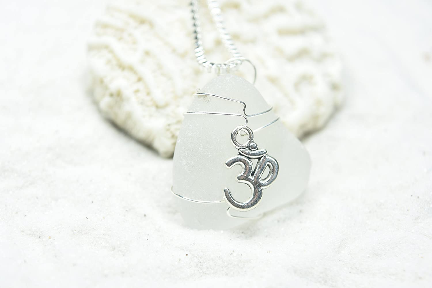 White Sea glass pendant with sterling silver choker
