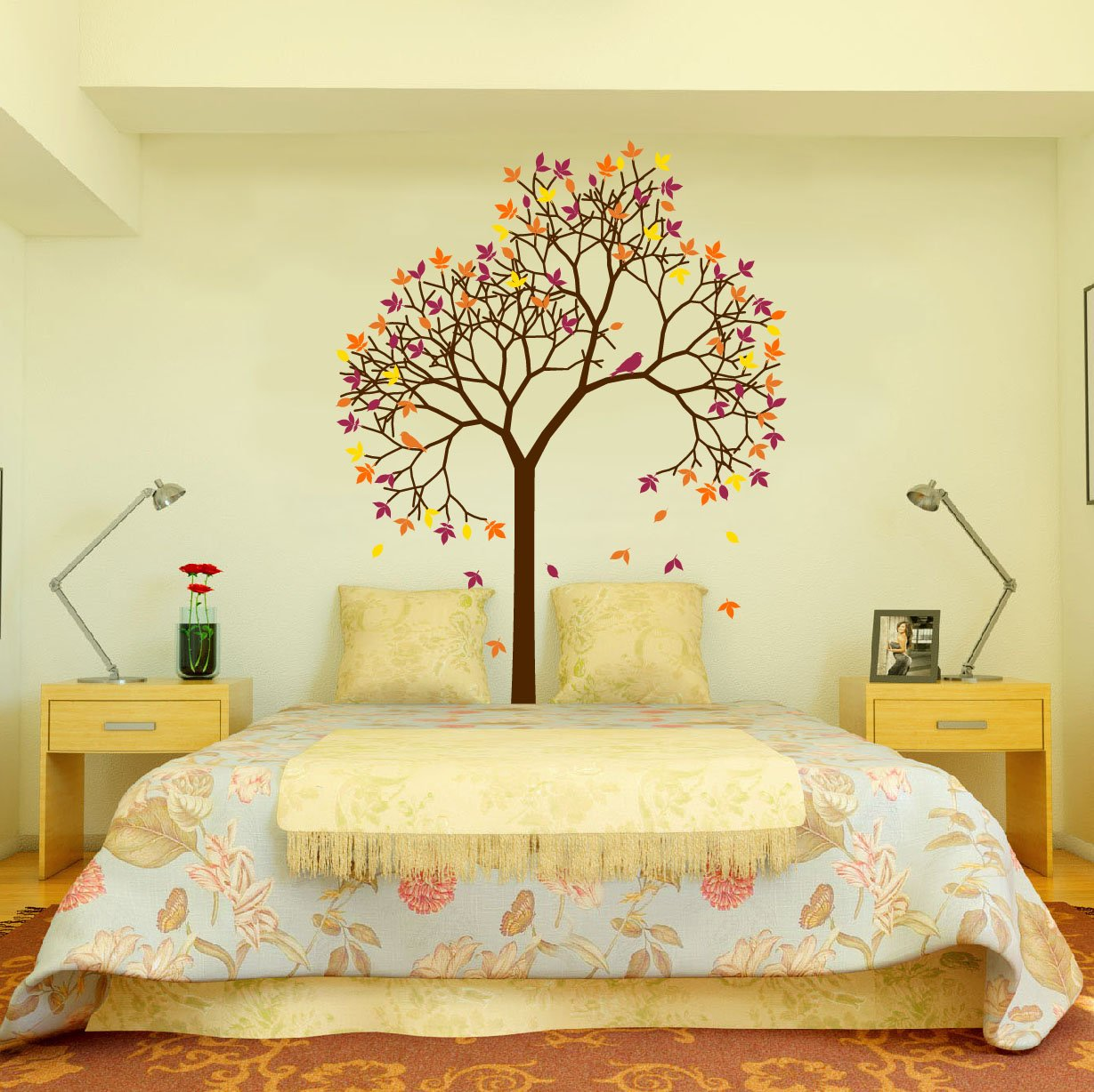 Amazon.com: Aspen Tree Wall Decal with Bird and Leaves Vinyl Sticker ...