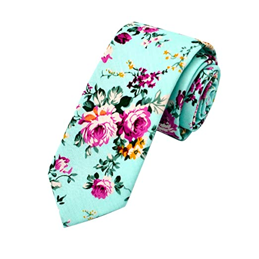 f5bc9317e292 IUMN Men's Necktie Floral Print Cotton Neck Tie Slim,Flower Ties for  Men,Mens
