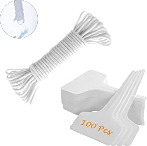 ORIMERC 100 Pcs Plant Labels with 30 Feet Self Watering Wick Cord for Vacation Self-Watering Planter Pot DIY Automatic Watering Device System Potted Plant Sitter Auto Drip Waterer Garden Tag Marker