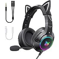 Onikuma K9 Negros Audifonos Gamer rosas con microfono y orejas de gato extraíbles (con 2 adaptadors incluidos) para PC…