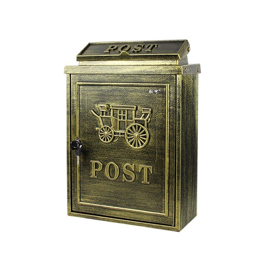 CQ ヨーロッパスタイルのメールボックス屋外レインプルーフウォーターヴィラの郵便受けの壁の壁のロックメイルボックスイドリッククリエイティブメールボックス (Color : Antique) B07F83NTTG Antique