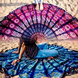 Set of 2 Mandala Round Tapestry Hippie Indian Mandala Roundie Picnic Table Cover Hippy Spread Boho Gypsy Cotton Tablecloth Beach Towel Meditation Round Yoga Mat - 72 Inches, Blue and Pink