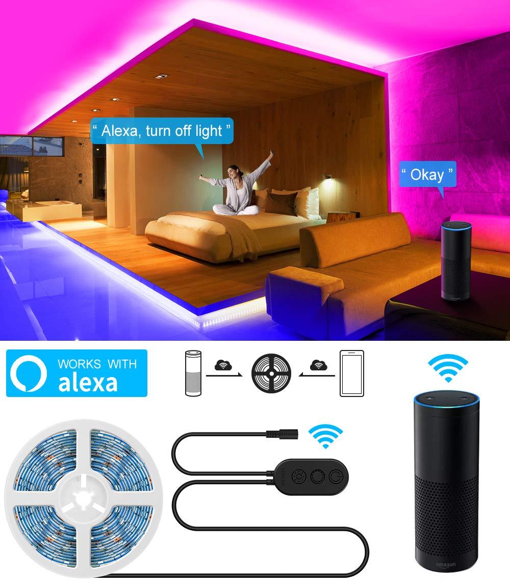 WiFi LED Strip Lights, MINGER 16 4ft Waterproof Wireless Smart Phone