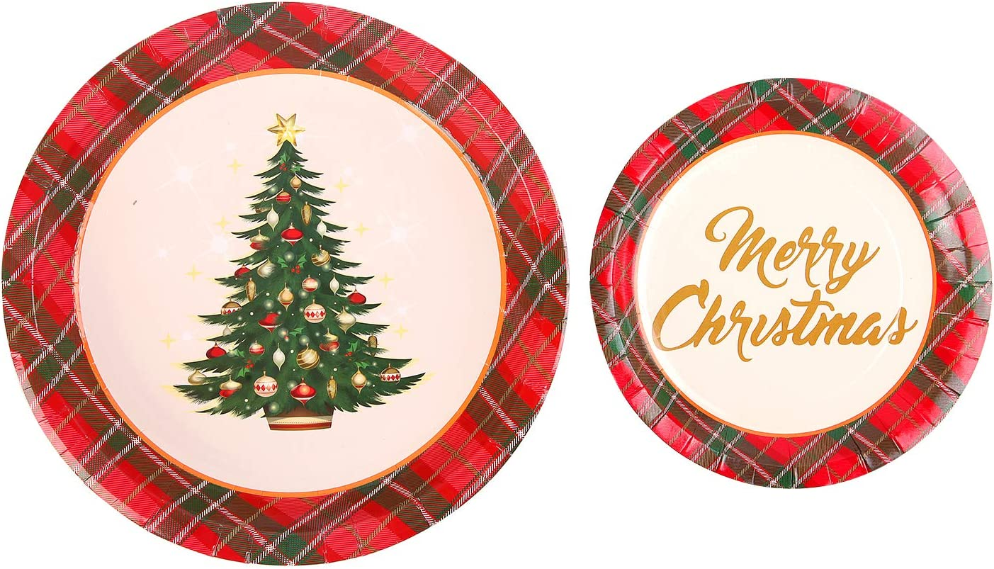 Green and kraft Christmas tree paper plates Green foiled Christmas tree plates Christmas party tableware-Christmas decorations-Pack of 8