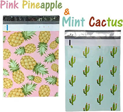 Pink Pineapple Mint Cactus 10x13 Designer Tropical Poly Mailers Combo Pack 100 Palm Trees Quality Shipping Bag Envelopes